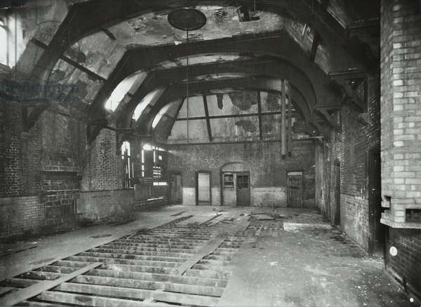Latchmere Road: derelict attic of a former relief station, London, 1951 (b/w photo)
