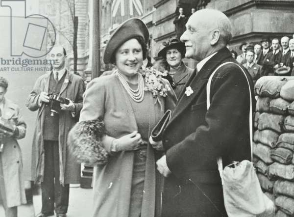 The Queen Mother inspecting London Ambulance Service at County Hall, 1941 (b/w photo)