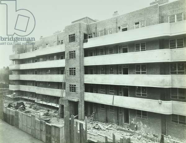 Macaulay Road, Macaulay Square, under construction, London, 1936 (b/w photo)