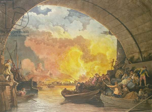 The Great Fire of London, 1799, engraved by J.C. Stadler (fl.1780-1812) (aquatint)