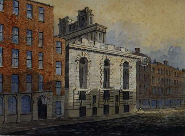 Lombard Street South, with St. Mary Woolnoth, c.1815 (w/c)