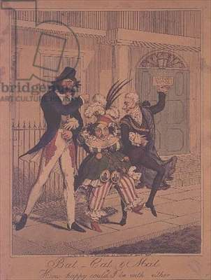 Bat, Cat and Mat, or How Happy Could I be with either - satirical engraving pub. by G.Humphrey