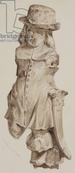 Carved figure in oak, at one time in the doorway of the house built on the site of the Boar's Head Tavern, Eastcheap, 1834 (wash on paper)
