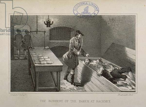 Scene of the robbery of a Hackney Baker, c.1730 (litho)