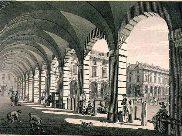 View Under the Portico, Covent Garden.  Print by J.Sandby and E.Rooker