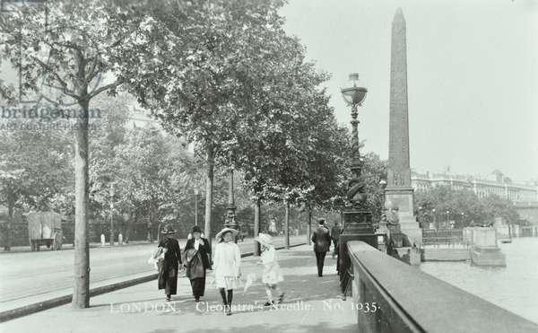 Cleopatra's Needle, Victoria Embankment, Westminster LB, 1914 (b/w photo)
