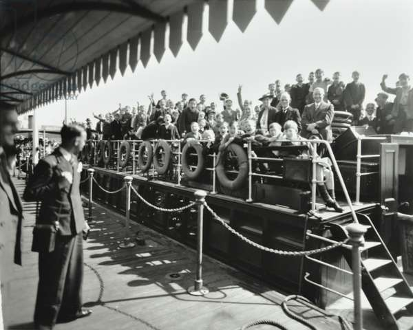 Children's steamer outing from Westminster Pier, London, 1937 (b/w photo)