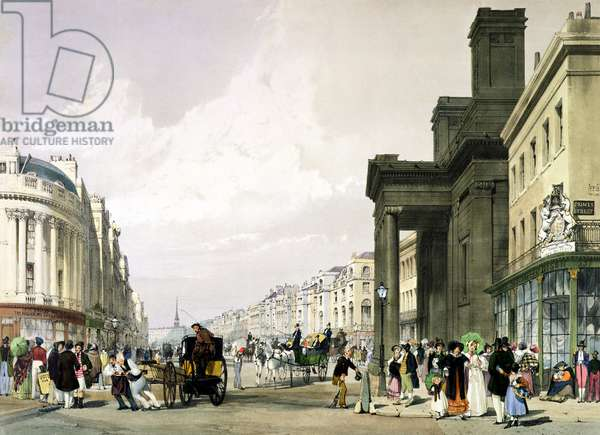 Regent Street looking towards the Quadrant with Hanover Chapel in the foreground and shoppers promenading, 1842 (litho)
