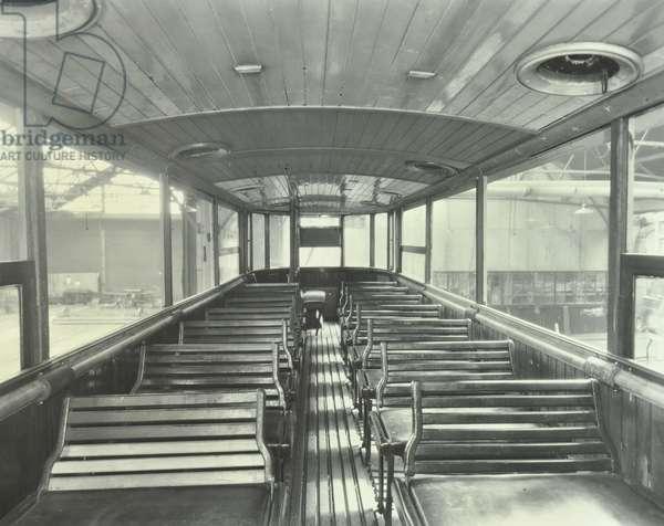 An interior view of tramcar , 1932 (b/w photo)
