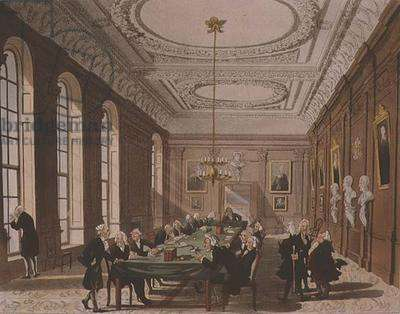 College of Physicians from Ackermann's 'Microcosm of London' (colour engraving)