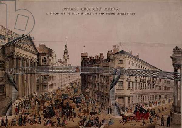 Bridge over the Street at Mansion House, c.1862 (aquatint)