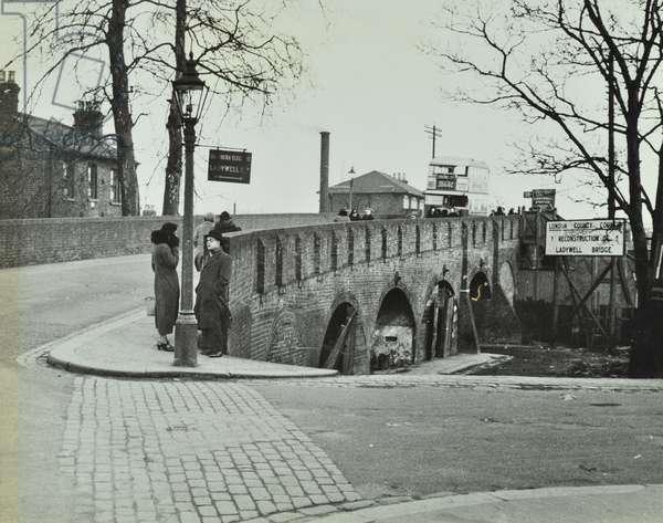 Ladywell Bridge: view over old bridge, 1938 (b/w photo)