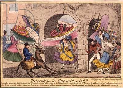 'Hurrah for the Bonnets So Big!', Coloured Etching by J.Fairburn, 1828