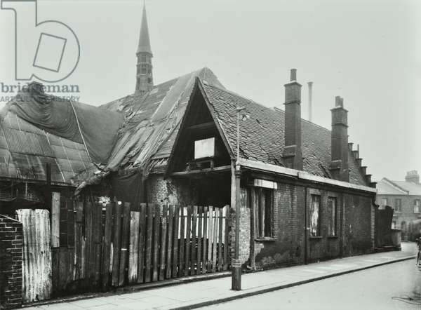Latchmere Road: derelict former relief station, London, 1951 (b/w photo)