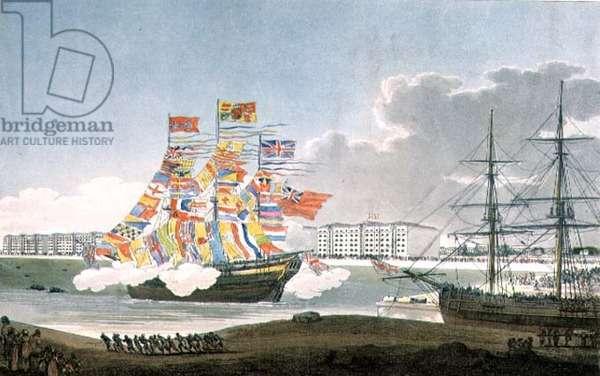 West India Docks, Opening, by E Walker & P W Tomkins, 1802
