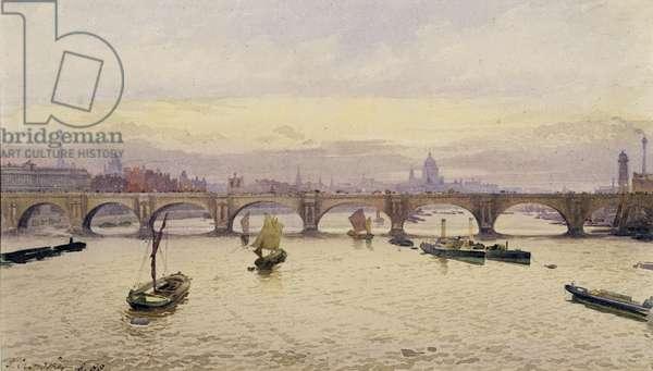 View of Waterloo Bridge from Hungerford Bridge, 1888 (w/c on paper)