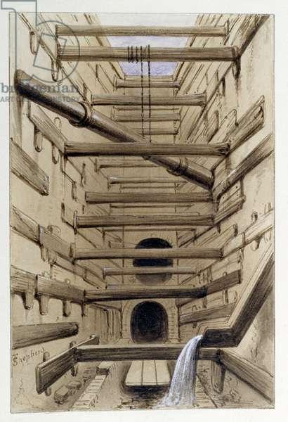 Interior of Fleet Street Sewer, 1845 (w/c)