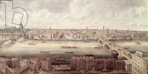 Panoramic view of London looking north between Southwark Bridge and London Bridge, c.1831 (w/c)