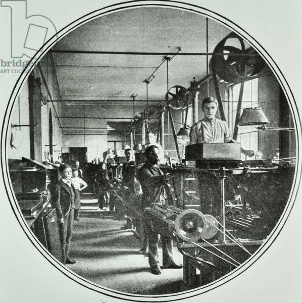 Printing department, Bank of England, Threadneedle Street, City of London, 1890 (b/w photo)
