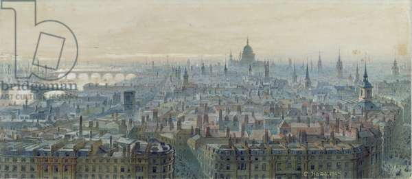Panorama of London from the top of the Monument, looking west, 1848 (w/c on paper)
