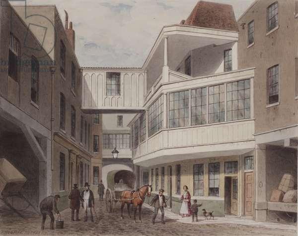 View of the Cross Keys Tavern, Wood Street, c.1850 (w/c on paper)