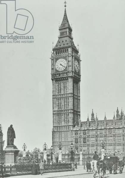 Parliament Square, Westminster LB: Big Ben, 1896 (b/w photo)