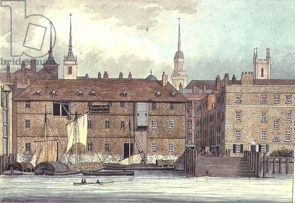 Queenhithe Flour Wharf by Charles Tomkins, 1801 (litho)