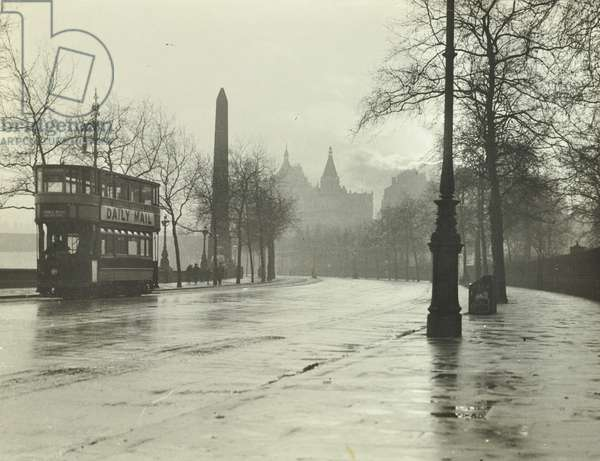 Victoria Embankment, Westminster LB: looking south by Cleopatra's Needle, 1928 (b/w photo)