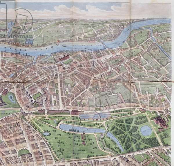 A Balloon View of London, detail of Hyde Park, Kensington, Knightsbridge and Chelsea, pub. 1851 by Bank and Co.