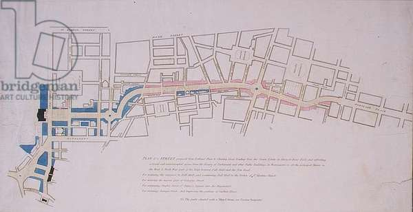 Plan presented to the House of Commons of a Street proposed from Charing Cross to Portland Place, leading to the Crown Estate in Marylebone Park, 1813 (engraving)