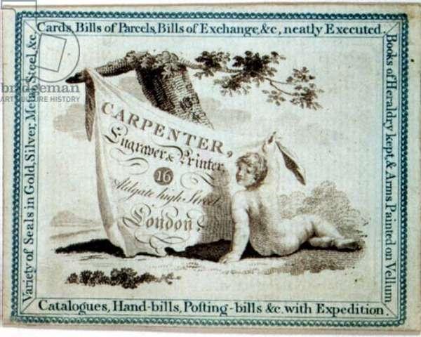 Trade Card of Mr. Carpenter, Engraver and Printer