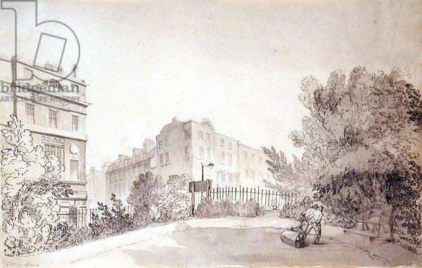 View of Fitzroy Square with Two Figures pulling a Garden Roller, c.1808 (ink and wash on paper)