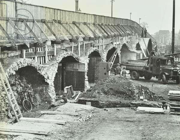 Ladywell Bridge: reconstruction and widening of Ladywell Bridge, 1937 (b/w photo)
