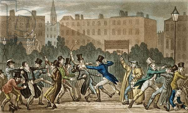 Tom, Jerry and Logic Involved in a Night Fight, from 'Life in London' by Pierce Egan (1772-1849), 1821-22 (coloured aquatint)