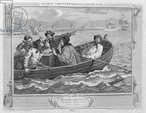 The Idle 'Prentice Turned Away and Sent to Sea, plate V of 'Industry and Idleness', published 1833 (engraving)