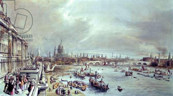 Somerset House, St. Paul's and Blackfriar's Bridge from Waterloo Bridge (colour litho)