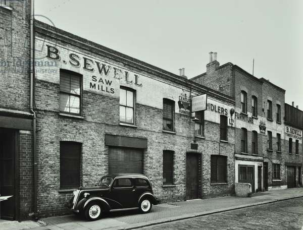 28-38 Mansford Street, Bethnal Green: front elevations, London, 1956 (b/w photo)