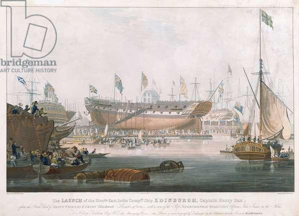 Launch of the Edinburgh at Blackwall, November 9, 1825, painted by Huggins (engraving)