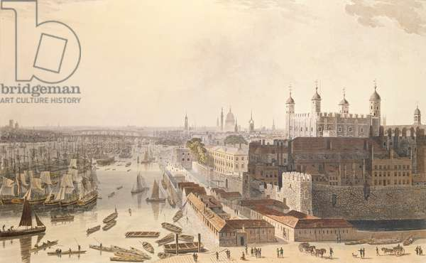 View of the London looking west from St. Katherine's Way, 1804 (coloured aquatint)
