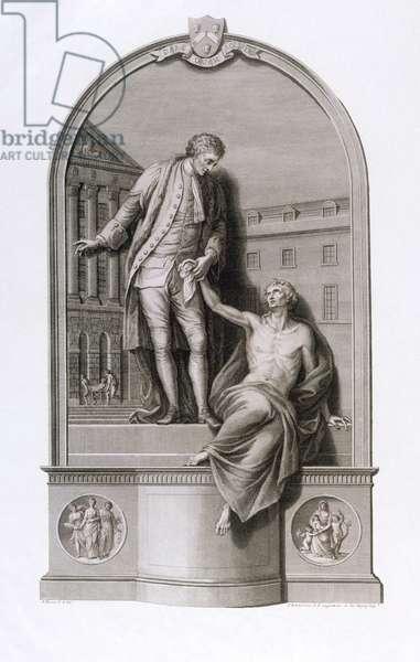 Monument to Sir Thomas Guy (1645-1724) at Guy's Hospital, Southwark, engraved by Francesco Bartolozzi (1727-1815), c.1784 (engraving)