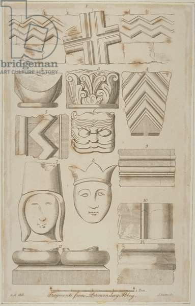 Fragments of stone carving from the Abbey of St Saviour in Bermondsey (engraving)