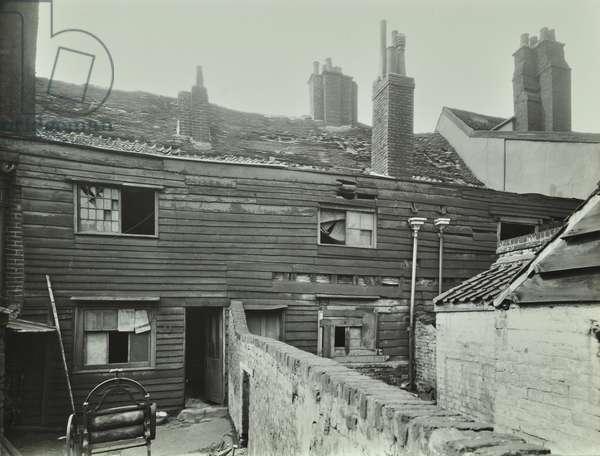 63-66 Grange Walk: rear elevations from yard, London, 1943 (b/w photo)