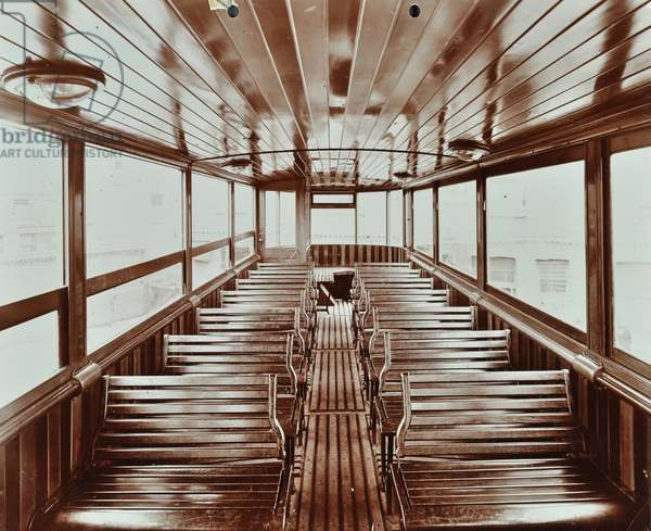 Interior view of electric tramcar, 1907 (b/w photo)