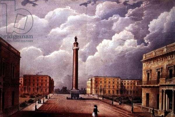 Perspective view of Duke of York's column, Carlton Gardens, by Wyatt & C.Hullmandel, aquatint, 1831