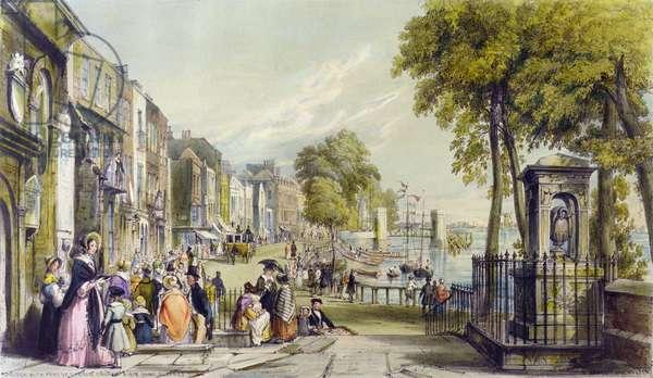 View of Cheyne Walk, Chelsea, 1840 (colour litho)