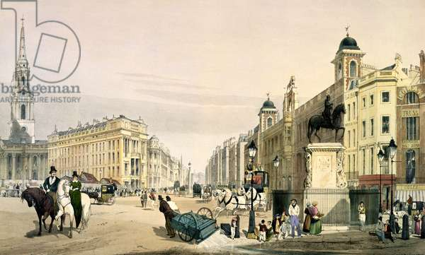View from Charing Cross looking towards the Strand, 1842 (litho)