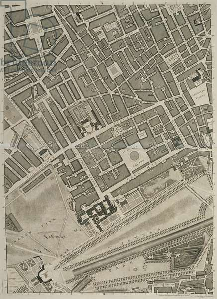 Plan of the Cities of London and Westminster and Borough of Southwark, engraved by John Tinney, pub. 1746 (engraving)