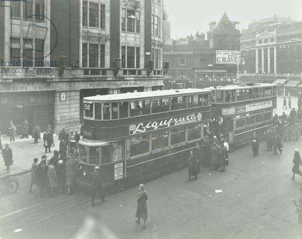View of trams at Victoria Terminus, 1932 (b/w photo)