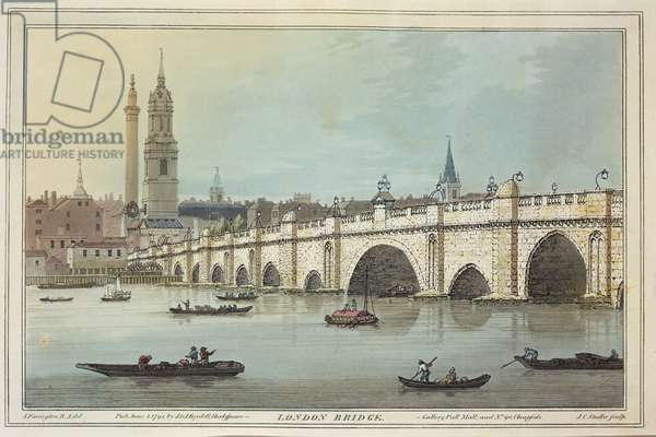 View of Old London Bridge, engraved by J.C. Stadler (fl.1780-1812), 1795 (coloured aquatint)