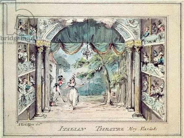 Italian theatre, Haymarket, 19th Century Print